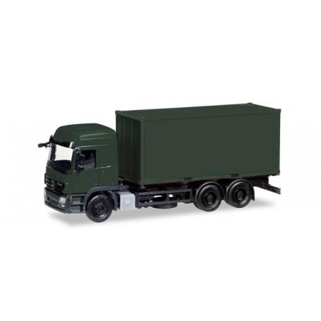 "Herpa 013383 Herpa MiniKit Military: Mercedes-Benz Actros L interchangable truck with container, bronze green ""Bundeswehr"""