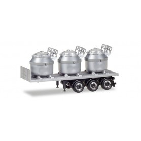 Herpa 076838 Trailer with 3 aluminum pots, silver