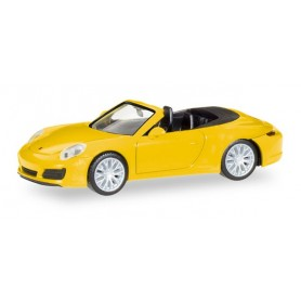 Herpa 028899 Porsche 911 Carrera 4S Cabrio, racing yellow