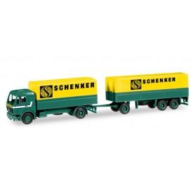 """Herpa 308687 Mercedes-Benz canvas cover trailer """"Schenker"""""""