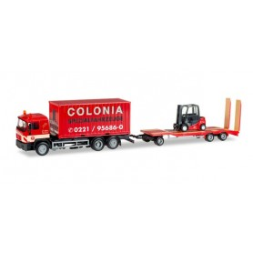 "Herpa 308182 MAN F 90 container truck with Goldhofer TU3 and forklifter ""Colonia"""