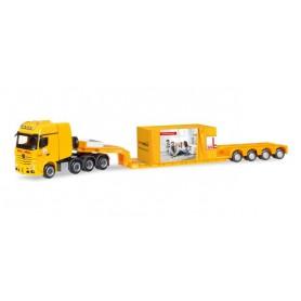 "Herpa 308373 Mercedes-Benz Actros SLT low boy semitrailer with load ""Max Bögl"""