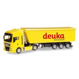 """Herpa 307901 MAN TGX XLX Stöffel-Liner truck semitrailer """"Deuka"""""""