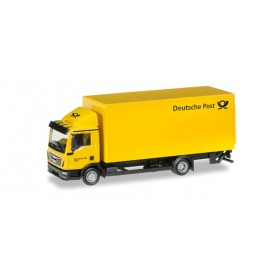 "Herpa 308212 MAN TGL box trailer with liftgate ""Deutsche Post"""