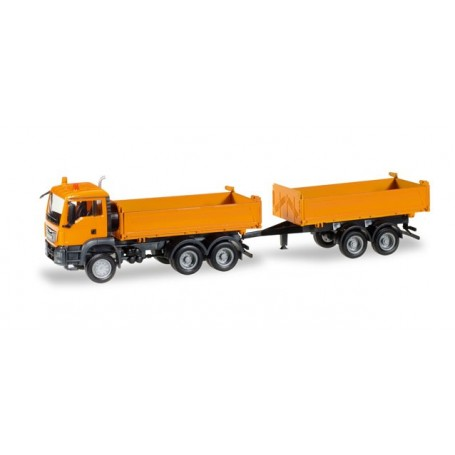 Herpa 308090 MAN TGS M Euro 6c construction tandem axle dump trailer