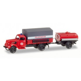 "Herpa 307956 Ford V 3000 canvas trailer with tank trailer ""Feuerwehr"""