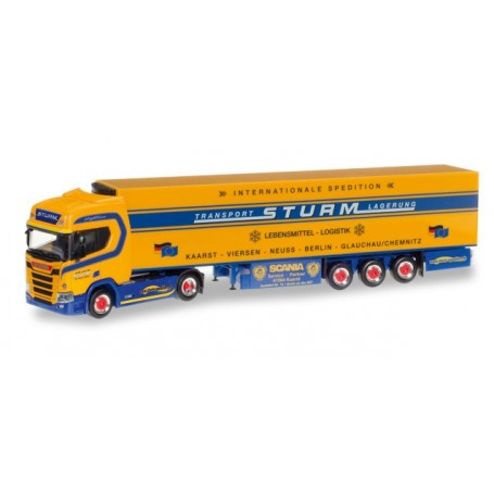 "Herpa 307826 Scania CR 20 HD refrigerated box semitrailer ""Spedition Sturm"""