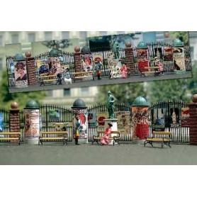 """Busch 1135 Tillbehörs-set """"Nostalgie"""", 5 reklampelare, 4 järnbänkar och en »Kaiser Wilhelm« staty"""
