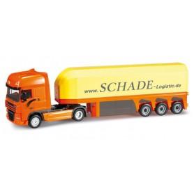 "Herpa 302340 DAF XF 105 SSC glas transporter semitrailer ""Schade Logistic"""