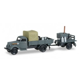 Herpa 745185 Ford G 917 T platform truck with lumber and trailer with field kitchen