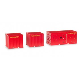 "Herpa 076807 Accessory 1 x power unit and 2 x 10 ft. Container ""Feuerwehr"""