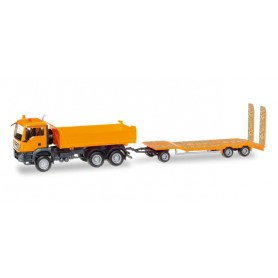 Herpa 307918 MAN TGS M dumper 3-axle with Goldhofer TU 3