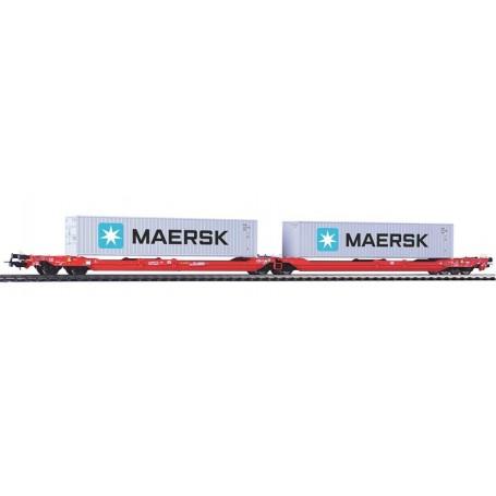 """Piko 54775 Dubbelvagn T3000e Intermodal med last av 2 trailers """"Maersk"""""""