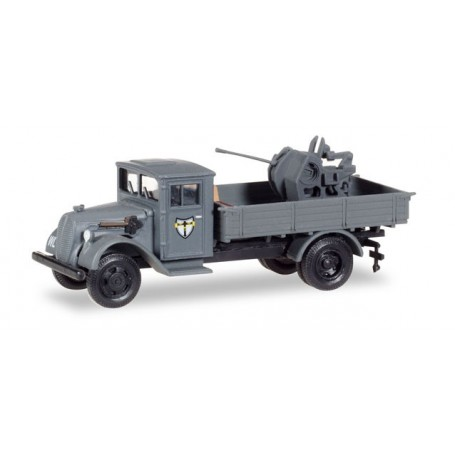 "Herpa 746090 Ford G 198 TS with wooden cabine and 37mm flak ""Jagdgeschwader 27"""