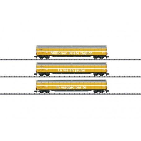 "Trix 15799 Vagnsset med 3 godsvagnar Habbiillnss ""Swiss Post"