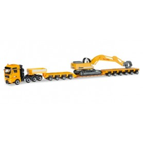 "Herpa 307277 MAN TGX XXL 640 lowboy semitrailer with Liebherr 954 with sorting Grabs ""Max Bögl"""