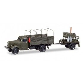 "Herpa 746137 ZIL 151 canvas trailer with truck tarp hoops and trailer with field kitchen ""NVA in Polen"""