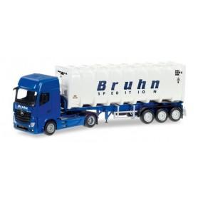 "Herpa 307796 Mercedes-Benz Actros Giga bulk container semitrailer ""Bruhn"""