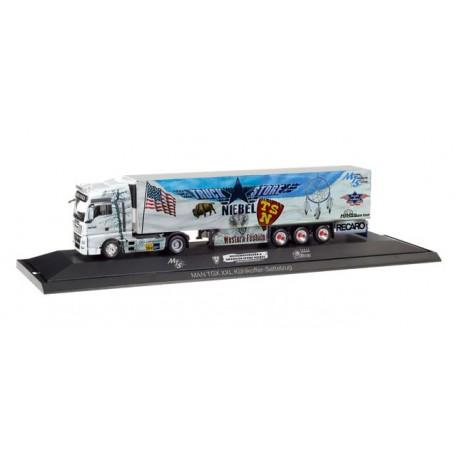 """Herpa 121781 MAN TGX XXL refrigerated box trailer """"Truck Store Niebel / Sped. Meixner"""""""