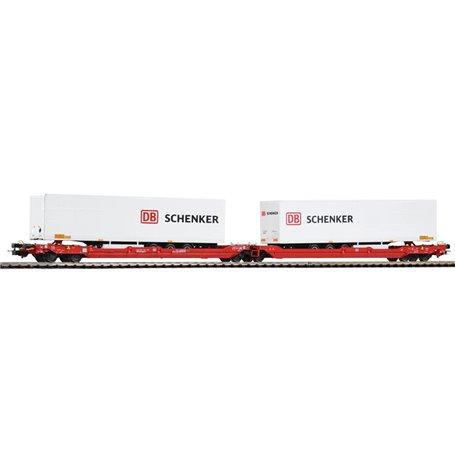 """Piko 54771 Dubbelvagn T3000e typ DB Intermodal med last av 2 trailers """"Schenker"""""""