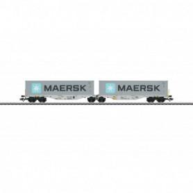 Märklin 47803 Dubbel containertransportvagn Sggrss 80 'Railion' typ AAE