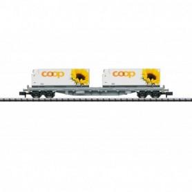 Trix 15937 Flakvagn Rs med last av containers 'Coop' typ SBB|CFF|FFS