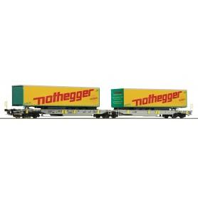 Roco 76433 Containervagn Sdggmrs|T2000 AAE 'Nothegger'
