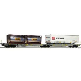Fleischmann 825004 Dubbel containervagn T2000 AE 'Bertschi|DB Schenker'