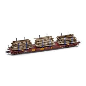 """NMJ 613102L Timmervagn """"Three T"""" Sgs 33 74 454 0 210-6 med last av timmer"""