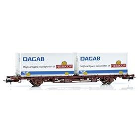 Containervagn SJ Lgjns 42 74 443 0754-6, Dagab/Hemköp