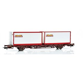 "NMJ 611104 Containervagn SJ Lgns 42 74 443 0 593-7 2 x 23' containers ""Bilspedition"""