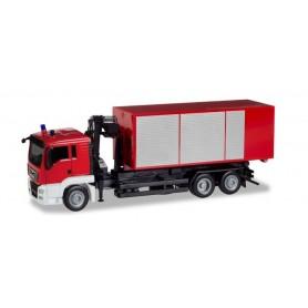 Herpa 013406 'Herpa MiniKit. MAN TGS L roll-off dump truck with crane ''Feuerwehr'''