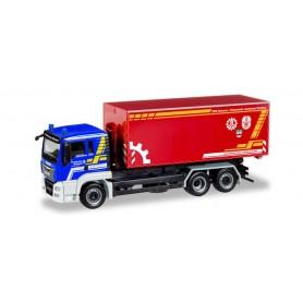 Herpa 093699 'MAN TGS L Euro 6 roll-off dump truck ''THW Dachau | Feuerwehr Landkreis Dachau'''