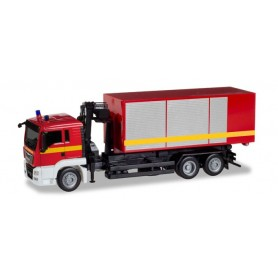 Herpa 093705 MAN TGS L roll-off dump truck with crane 'Feuerwehr'