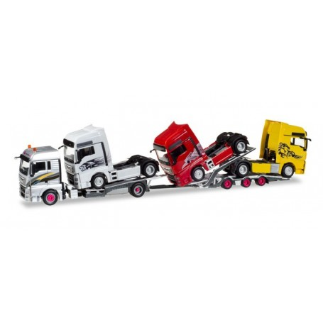 "Herpa 308595 MAN TGX XLX Euro 6c LKW-transport-trailer with charge MAN tractor ""Transordizia"" (E) (with movable loading ramps!)"