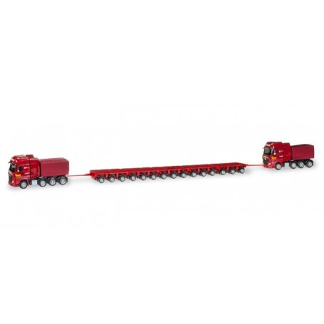 Herpa 308649 Heavy duty push pull combination with two Mercedes-Benz Actros heavy duty rigid tractors '100 Jahre Paule'