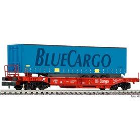 "Flakvagn med last av trailer ""Bluecargo"" typ DB Cargo"""