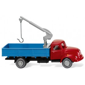 Wiking 42002 Flatbed truck w. loading crane (Magirus S 3500) - red|blue