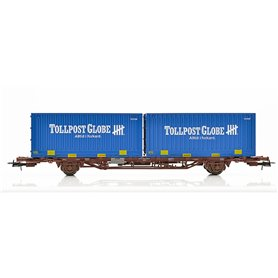 """Containervagn CargoNet med 2 st 24' containrar """"Tollpost Globe"""""""
