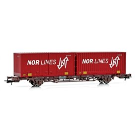 "NMJ 507114 Containervagn CargoNet med 2 st 24'' containrar ""Nor-Line"""