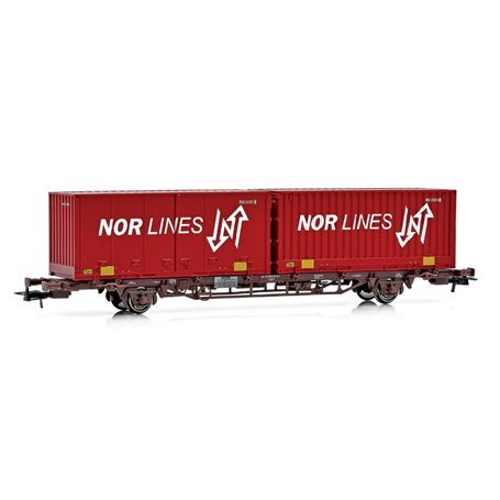 """NMJ 507114 Containervagn CargoNet med 2 st 24'' containrar """"Nor-Line"""""""