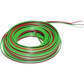 Kabel, 3-delad, grön/svart/röd, 5 meter 3 x 0.14 mm²