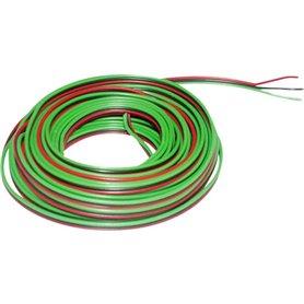 Kabel, 3-delad, grön/svart/röd, 50 meter 3 x 0.14 mm²