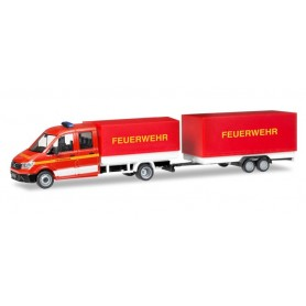 Herpa 093866 MAN TGE double cabin with platform and canvas and canvastrailer 'Fire Department'