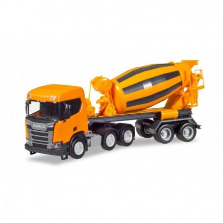 Herpa 309004 Scania CR XT flat Roof concrete mixer semitrailer, communal orange