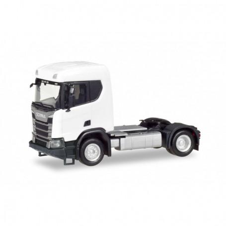 Herpa 309011 Scania CR XT flat Roof construction semitrailer 2-axles, white