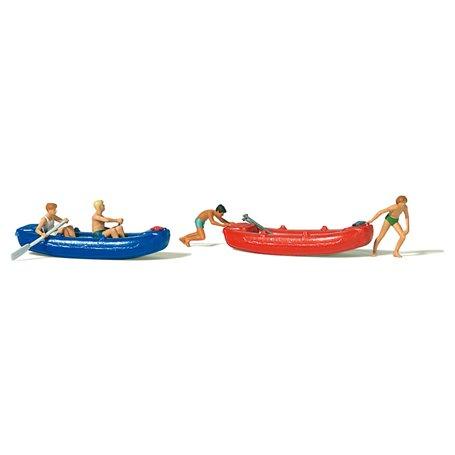 Preiser 10705 Ungdomar med båtar, 4 figurer med tillbehör