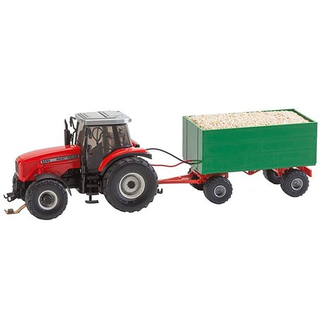 Faller 161588 MF Tractor with wood chips trailer (WIKING)