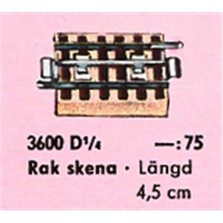 Märklin 3600D1/4 Böjd skena, längd 4,5 cm