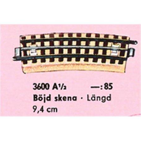 Märklin 3600A1/2 Böjd skena, längd 9,4 cm